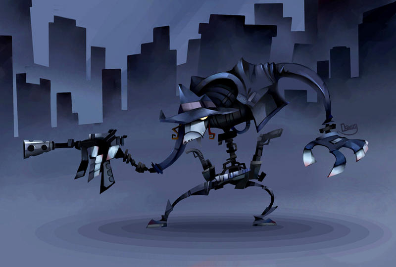 Cyborg Gunman in dark city by zgul-osr1113