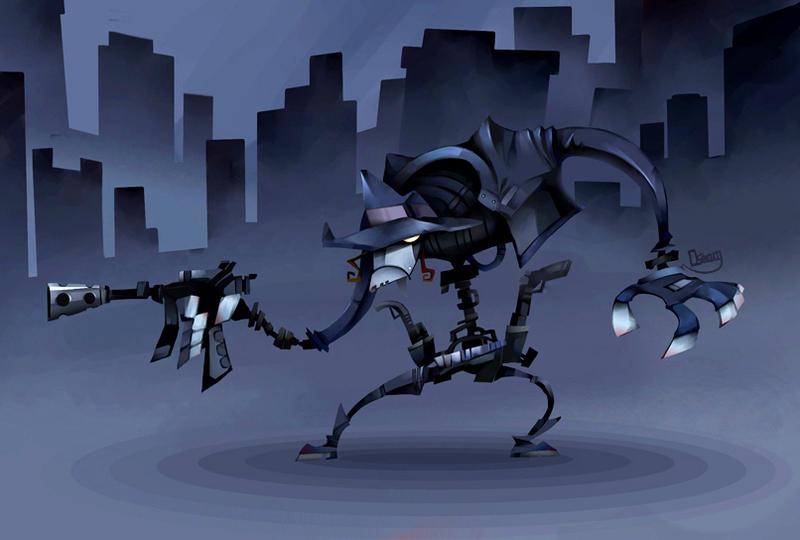 Cyborg Gunman in dark city by zgul-osr1113