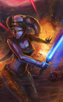 Aayla Secura in the battle by zgul-osr1113