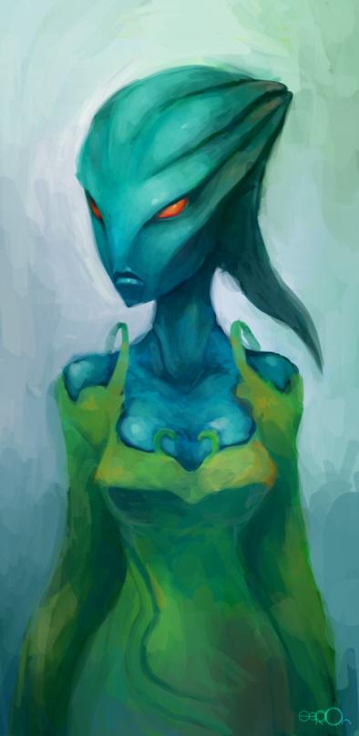 Blue alien woman by zgul-osr1113