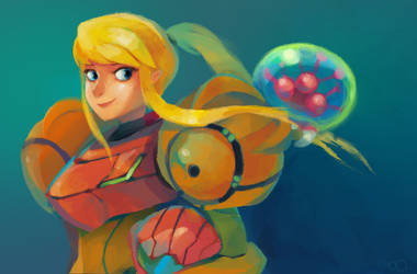 Samus and baby Metroid