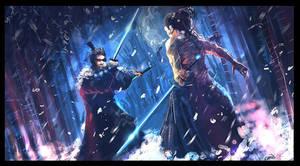 Samurai clash in snow