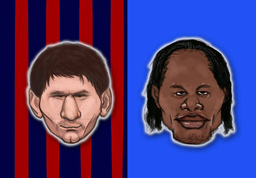 Messi vs Drogba caricature