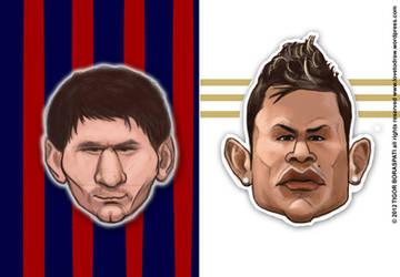 Messi vs CR7 caricature by pati88