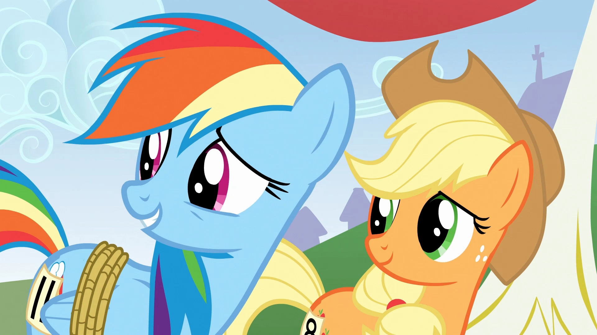 Image - Rainbow Dash &amp- Applejack surprised S1E13.png | My Little ...