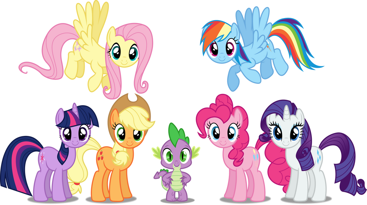 Vector #140 - The Mane 7 by DashieSparkle