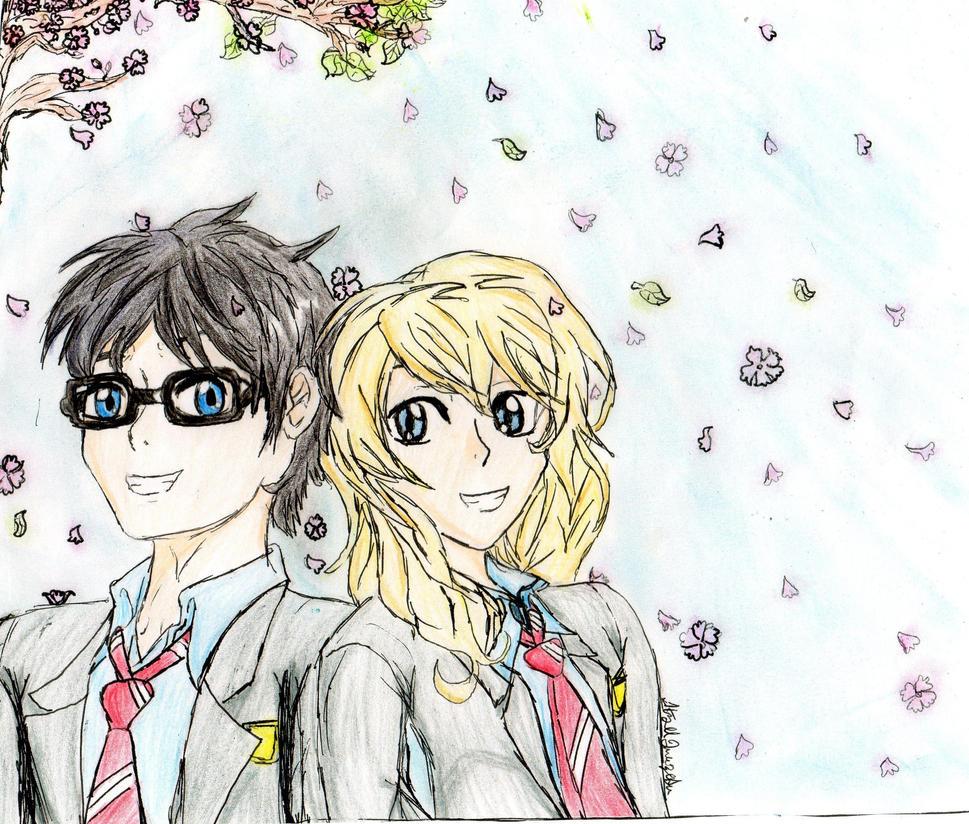 Kosei Arima and Kaori Miyazono by pegasister333