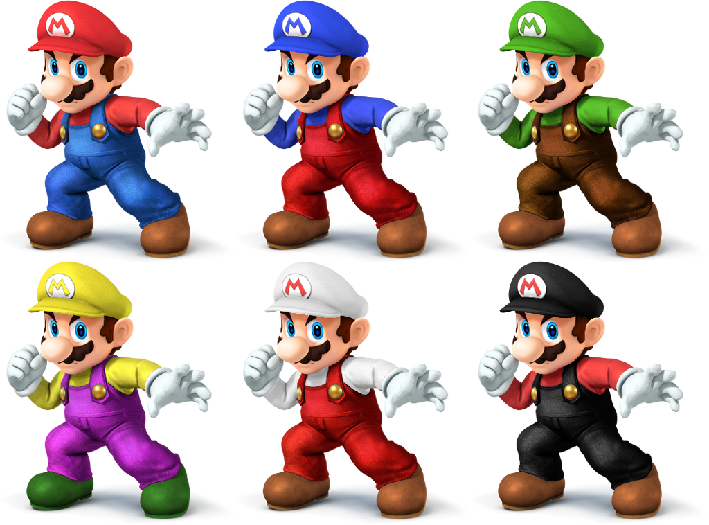 Mario ssb4 recolors by shadowgarion on deviantart for What color is mario