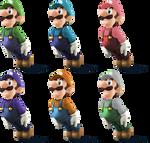 Luigi SSB4 recolors