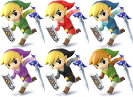 Toon Link SSB4 Recolors by shadowgarion