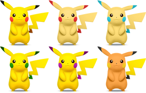 Pikachu SSB4 Recolors by shadowgarion