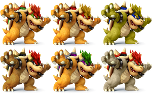Bowser SSB4 Recolors by shadowgarion