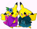 Pikachu couple by chibi-komiko