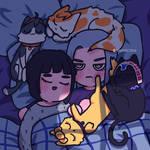 Abbacchio x Bucciarati and their cats