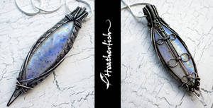 Large Rainbow Moonstone Pendant in Oxidized Silver