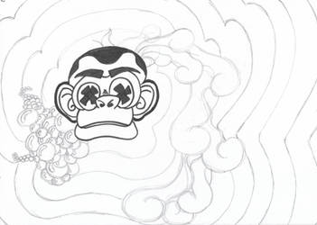 Psychedelic monkey sketch - 23/12/2017 by sacerludum
