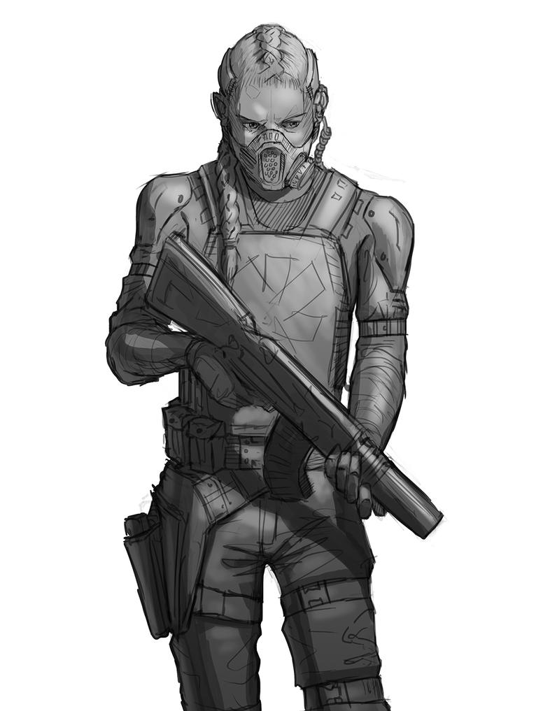 Some Spec-ops girl sketch by Psichodelic