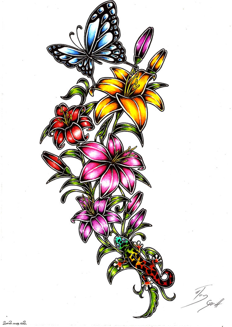 Flowers tattoo design by taygriff on deviantart for Tattoo style flowers