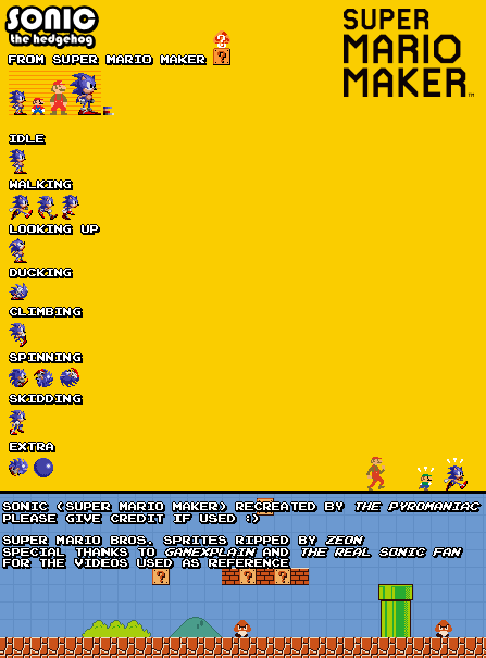 sonic from super mario maker sprites by thepyromaniac