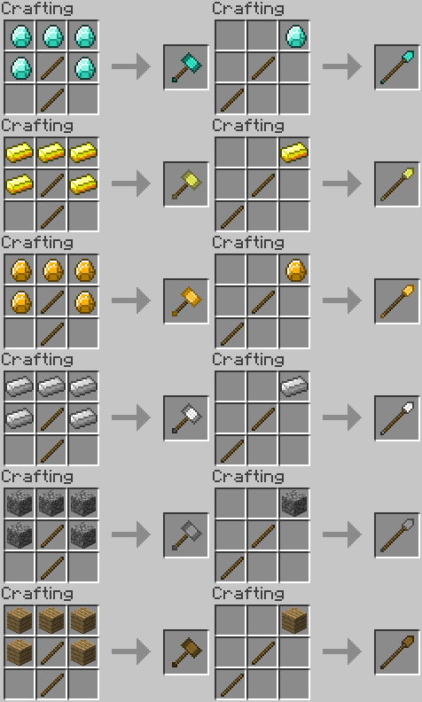 Minecraft Tool/Weapon Ideas - WarHammer and Spear by RedPanda7 on