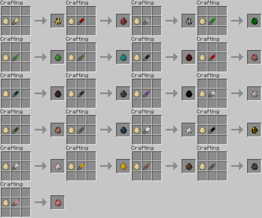 Minecraft Ideas - Spawn Egg recipies by RedPanda7