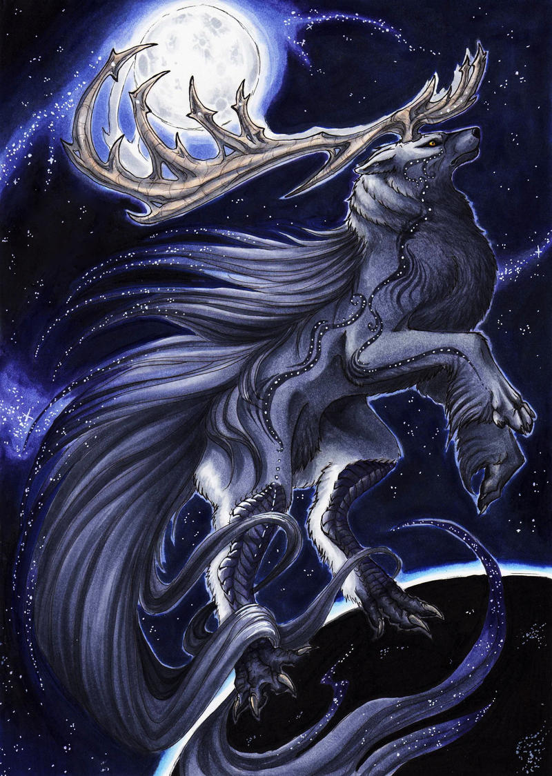 The moon-rising Wolf by BlackChaos666