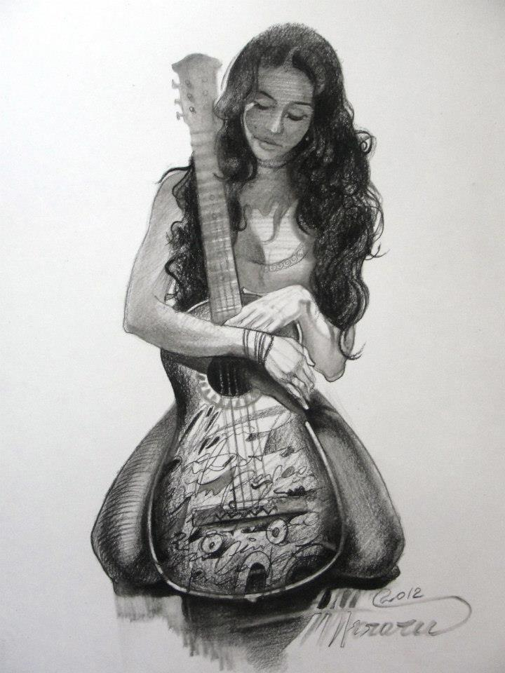 Spanish Guitar (charcoal on paper) by AdrianMoraru