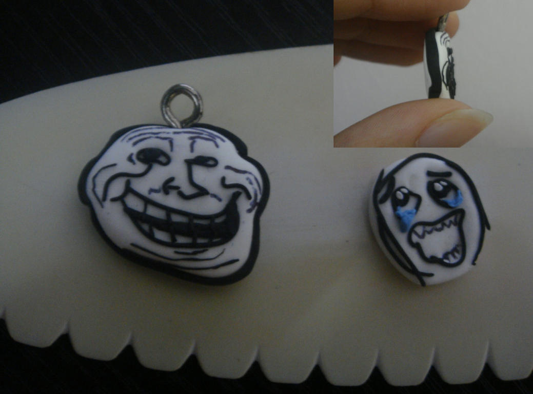 Facebook Meme Trollface and Happy Rage Guy Charm by ...