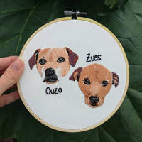 Ouzo and Zues Hand Embroidered Portrait by hannxm