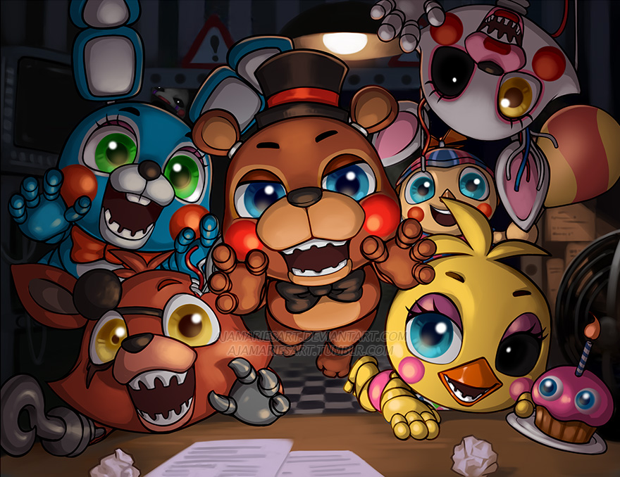 five nights with chibis by ajamariesart on deviantart