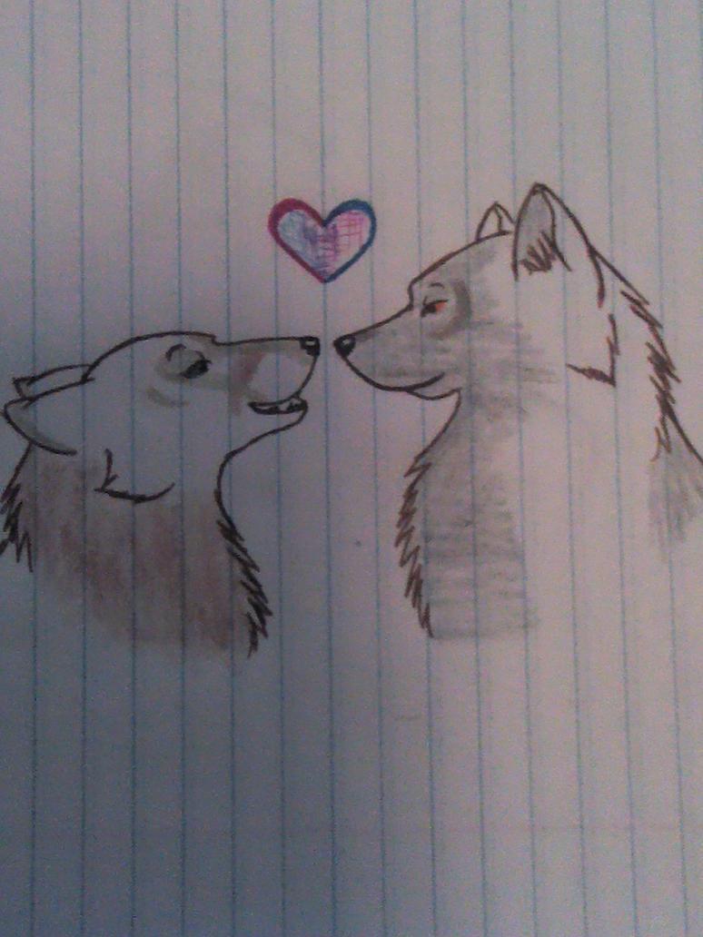 Cute Wolf Love Drawings