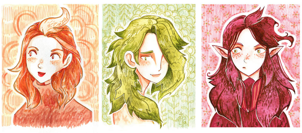 3 Colored portraits by HannaGreenList