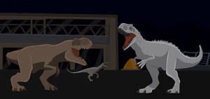 Tyrannosaurus Rex vs Indominus Rex by Patkall