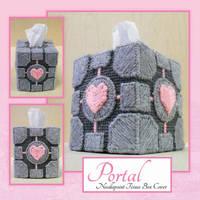 Portal Companion Cube Tissue Box Cover by purpleyoshi1