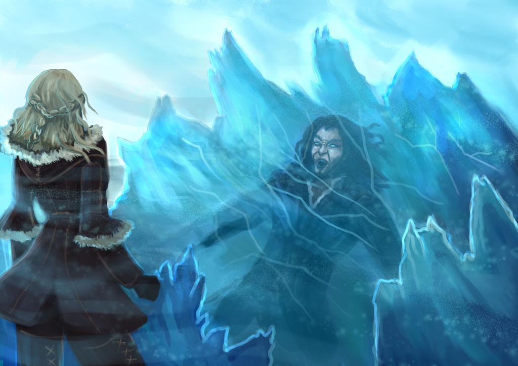 Levistus trapped in a glacier (commission) by Cinder-Cat