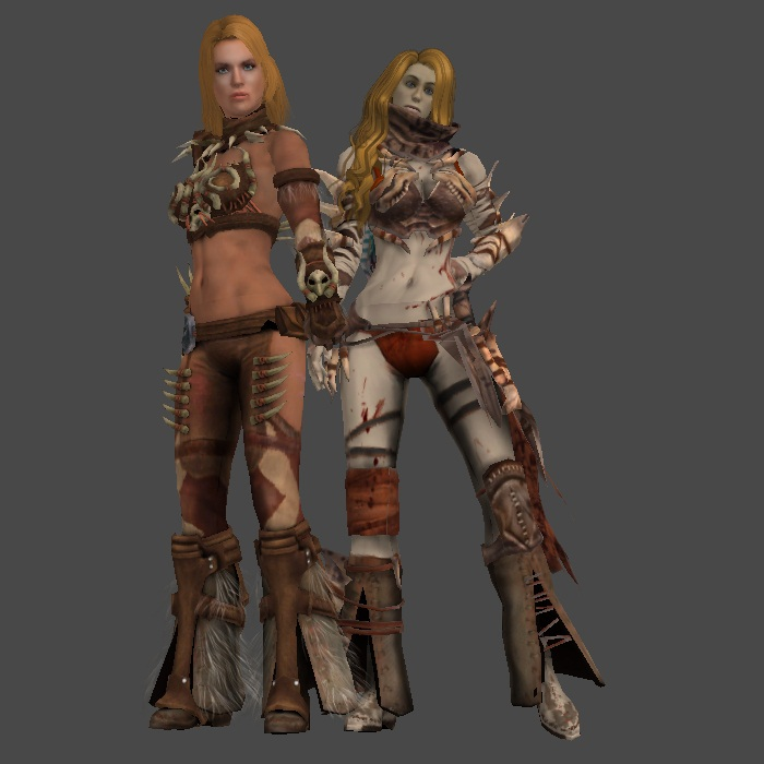 Shur-Han Sisters: Outworld Savages (WIP) by KoDraCan