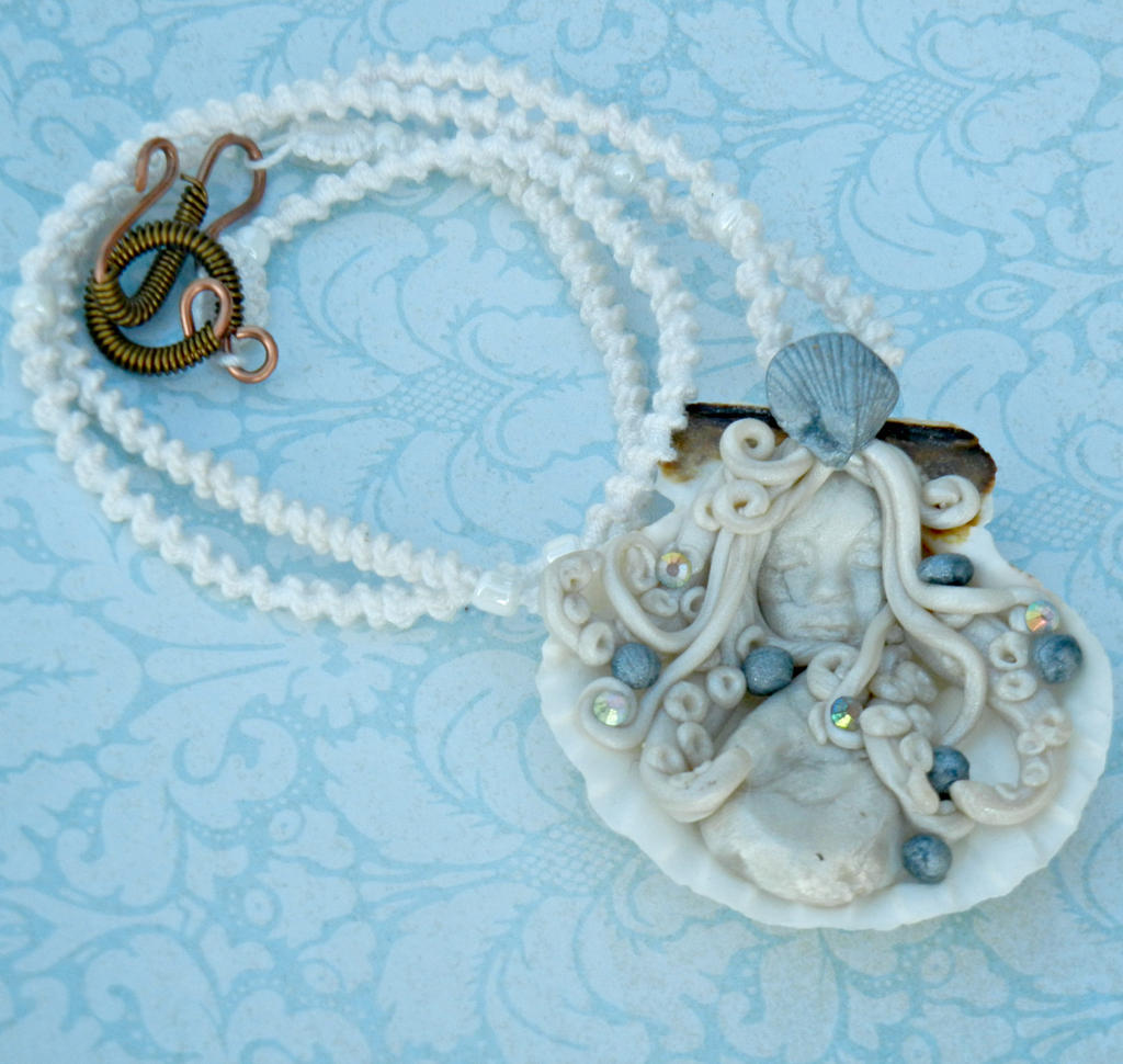 Sea Goddess Pendant on Spiral Tatted Lace by ATatteredCanvas