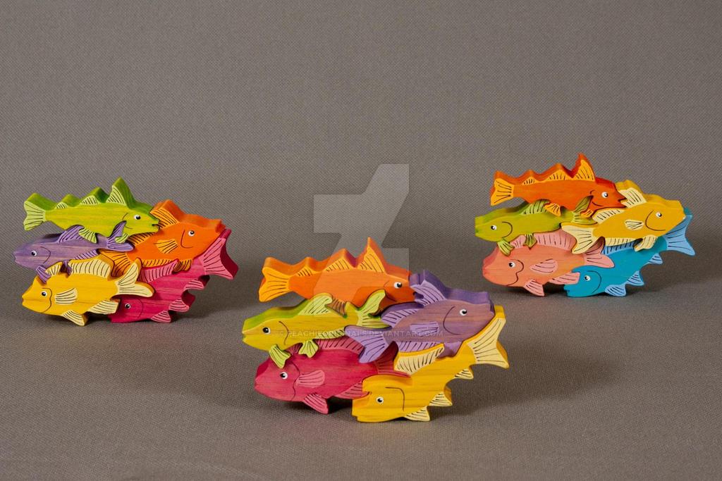 Fish Pile Art Puzzles by PeachieOriginals