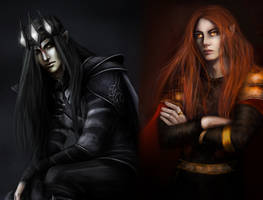 Morgoth and Sauron  by KuraiGeijutsu