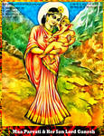 Maa Parvati and Her Son Lord Ganesh by Ravimishra085