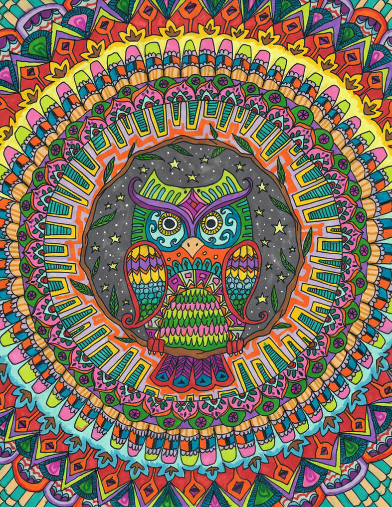 Starry Night Owl by Liquid-Mushroom