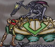 Samus and Ridley by zarla