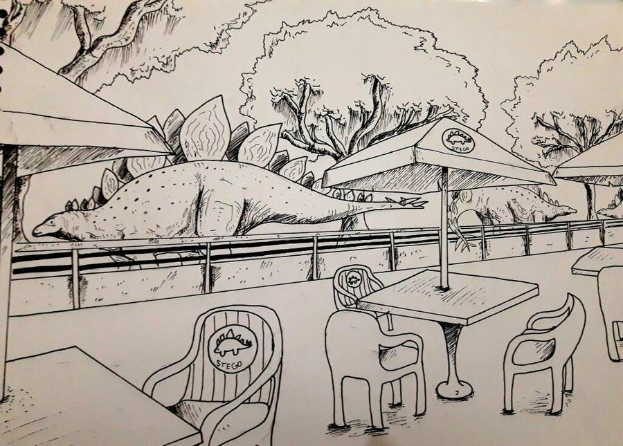 MESOZOIC SAFARI: Stegosaurus Cafe by Rizzysaur