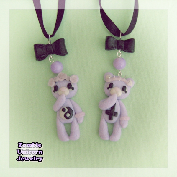 Pastel goth bear necklaces by Galadriel89