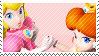 peach and daisy stamp