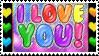 i love you rainbow stamp