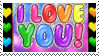 i love you rainbow stamp by catstam