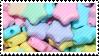 rainbow plastic stars stamp