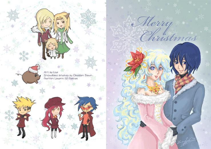 Gurren Lagann Christmas card by lithele