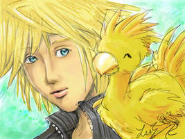 Cloud + baby chocobo by lithele
